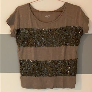 Taupe Sequin tee